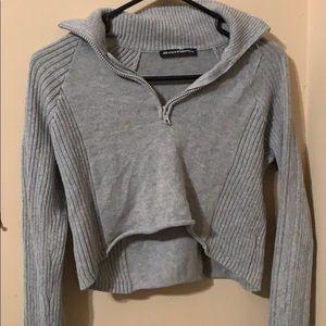 long sleeve gray crop top knitted zipper sweater